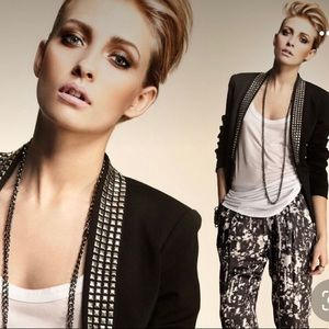 Black knit statement blazer studded collar lapels